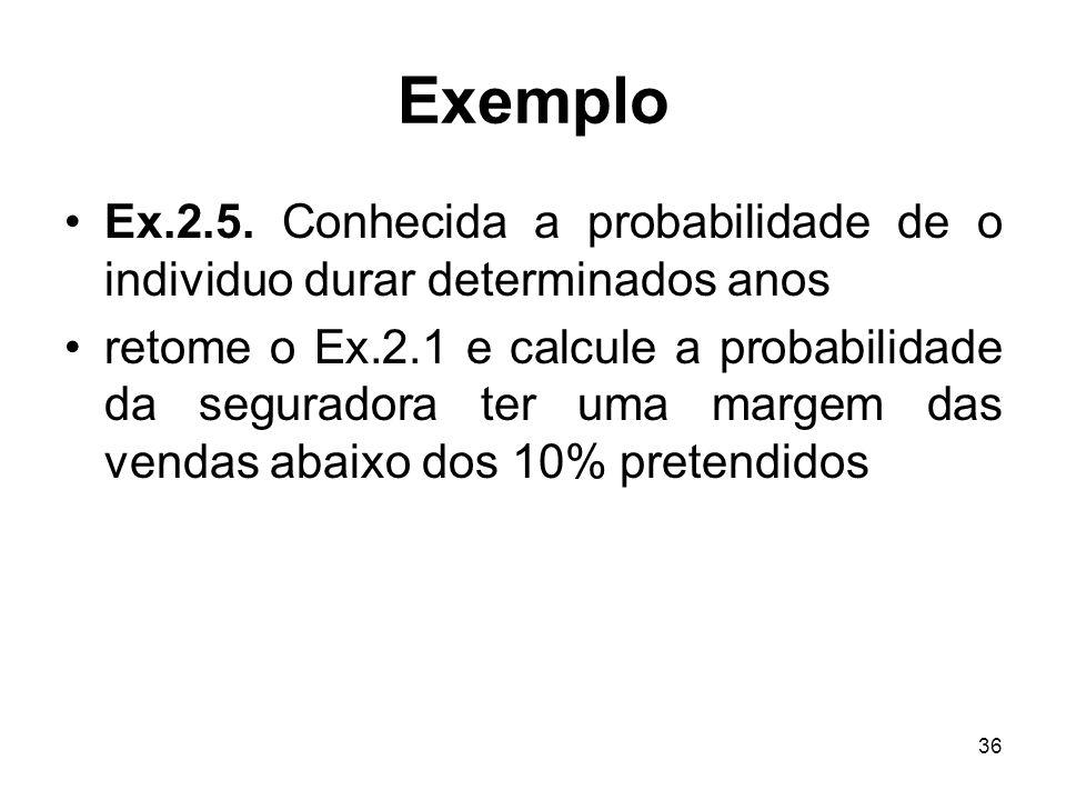 Exemplo Ex.2.5. Conhecida a probabilidade de o individuo durar determinados anos.