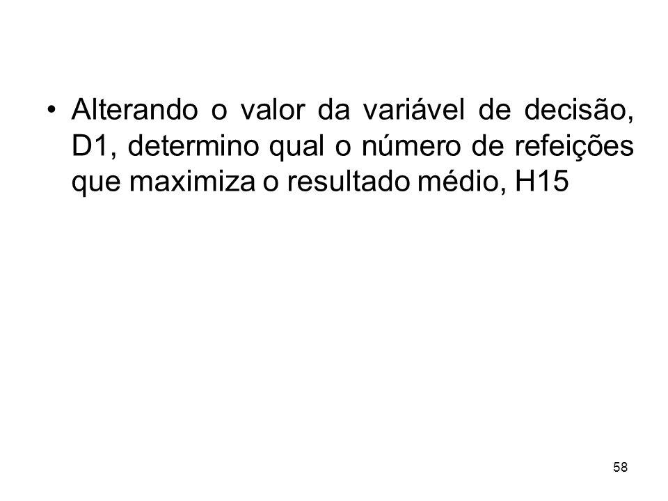 Alterando o valor da variável de decisão, D1, determino qual o número de refeições que maximiza o resultado médio, H15