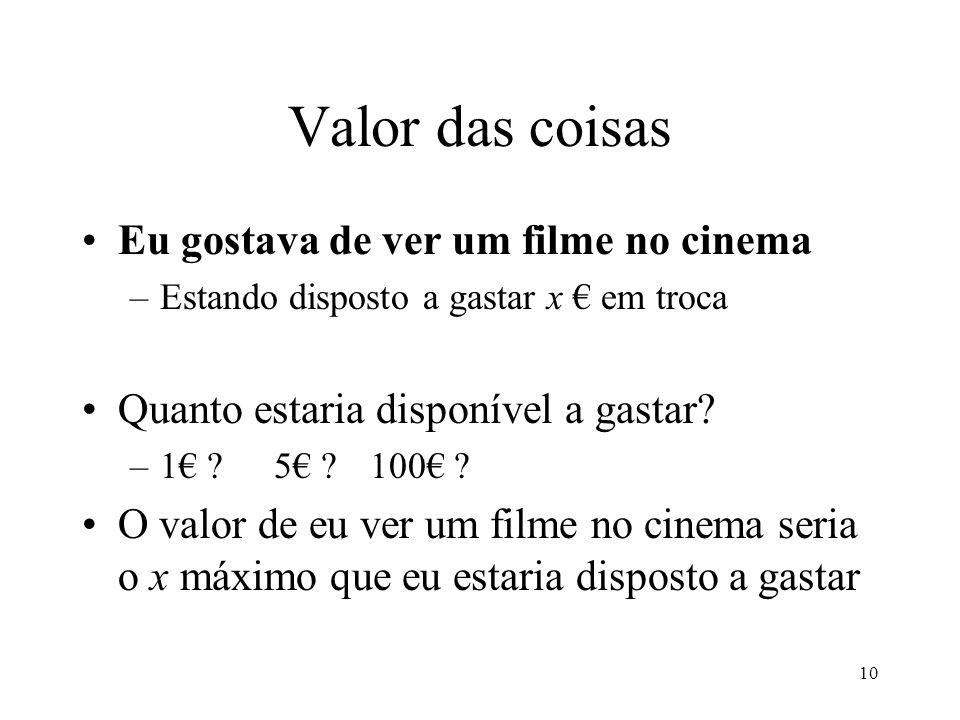 Valor das coisas Eu gostava de ver um filme no cinema