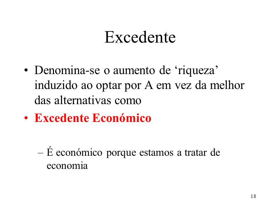 Excedente Denomina-se o aumento de 'riqueza' induzido ao optar por A em vez da melhor das alternativas como.