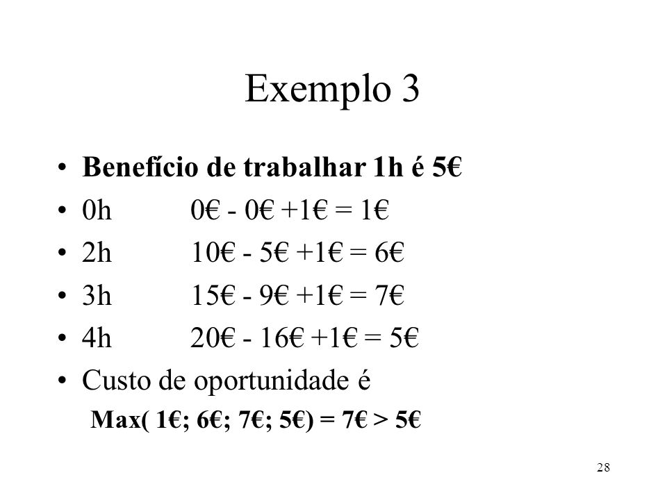 Exemplo 3 Benefício de trabalhar 1h é 5€ 0h 0€ - 0€ +1€ = 1€