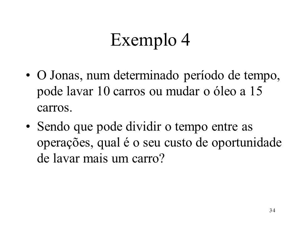 Exemplo 4 O Jonas, num determinado período de tempo, pode lavar 10 carros ou mudar o óleo a 15 carros.