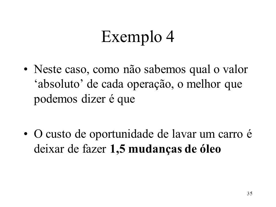 Exemplo 4 Neste caso, como não sabemos qual o valor 'absoluto' de cada operação, o melhor que podemos dizer é que.