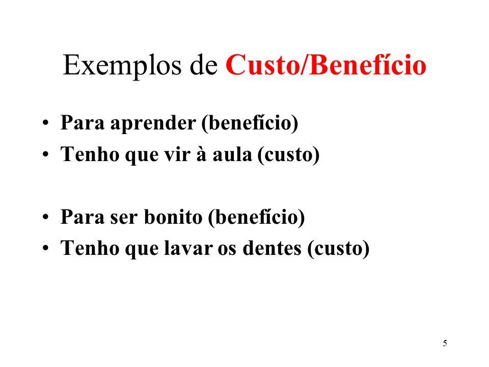 Exemplos de Custo/Benefício