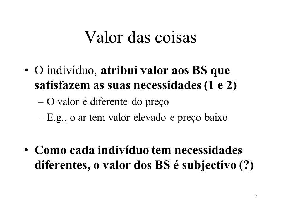 Valor das coisas O indivíduo, atribui valor aos BS que satisfazem as suas necessidades (1 e 2) O valor é diferente do preço.
