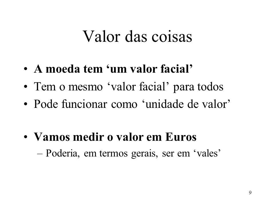 Valor das coisas A moeda tem 'um valor facial'