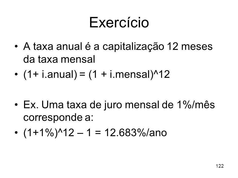 Exercício A taxa anual é a capitalização 12 meses da taxa mensal