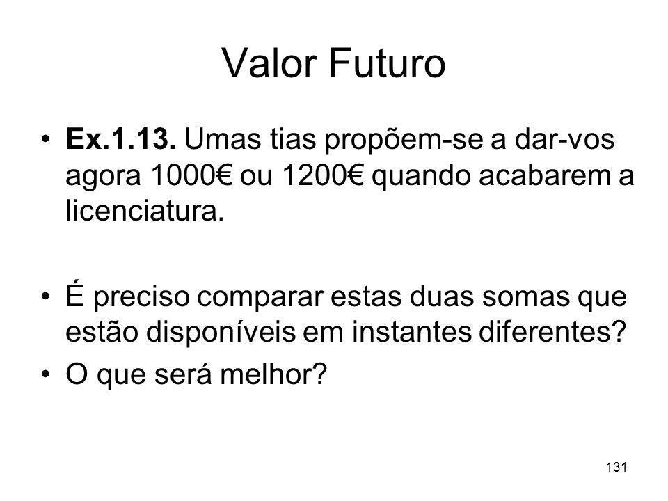 Valor Futuro Ex.1.13. Umas tias propõem-se a dar-vos agora 1000€ ou 1200€ quando acabarem a licenciatura.