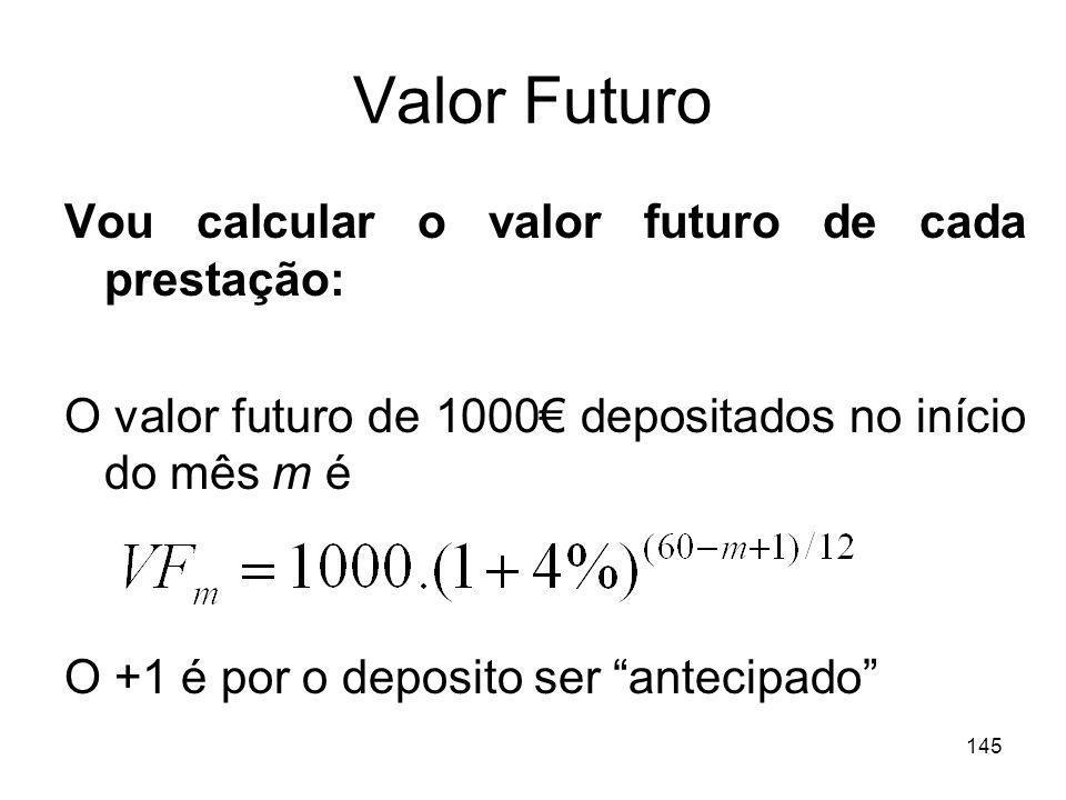 Valor Futuro Vou calcular o valor futuro de cada prestação: