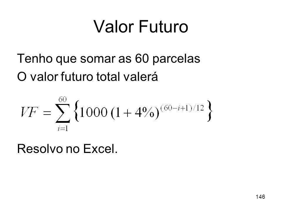 Valor Futuro Tenho que somar as 60 parcelas