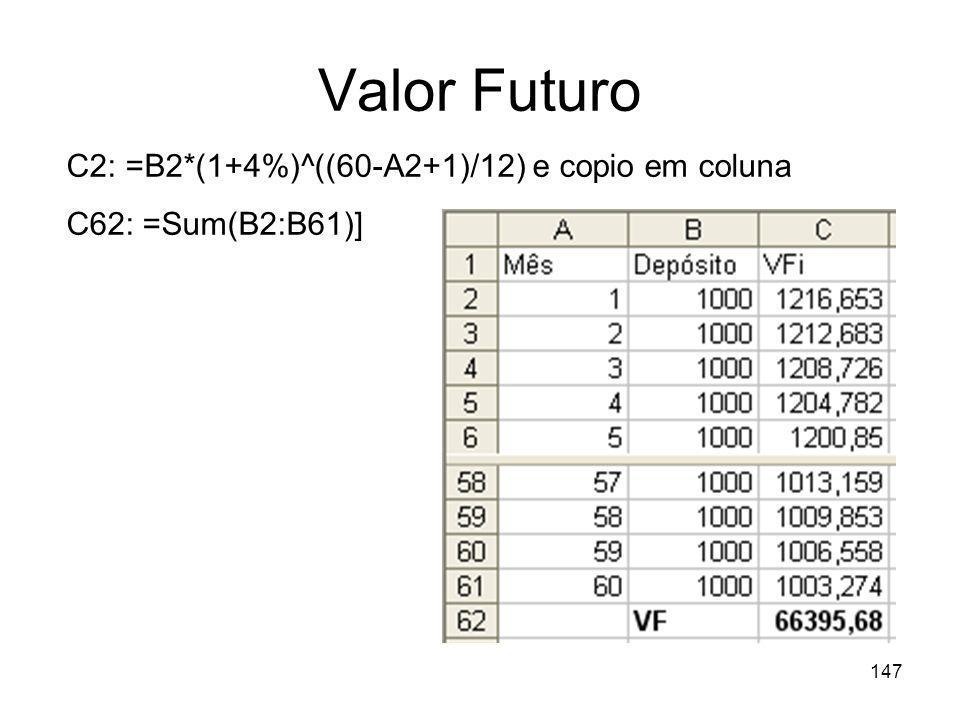 Valor Futuro C2: =B2*(1+4%)^((60-A2+1)/12) e copio em coluna