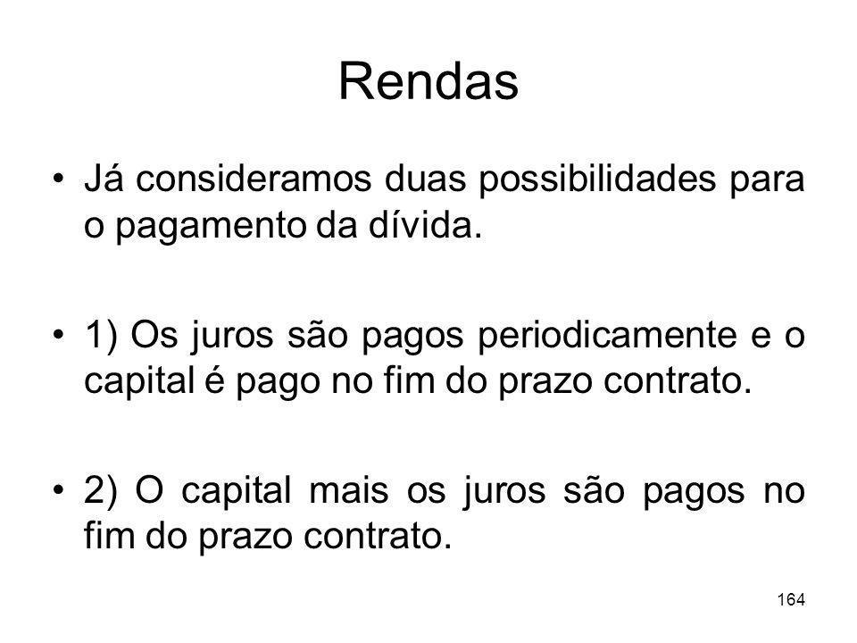 Rendas Já consideramos duas possibilidades para o pagamento da dívida.