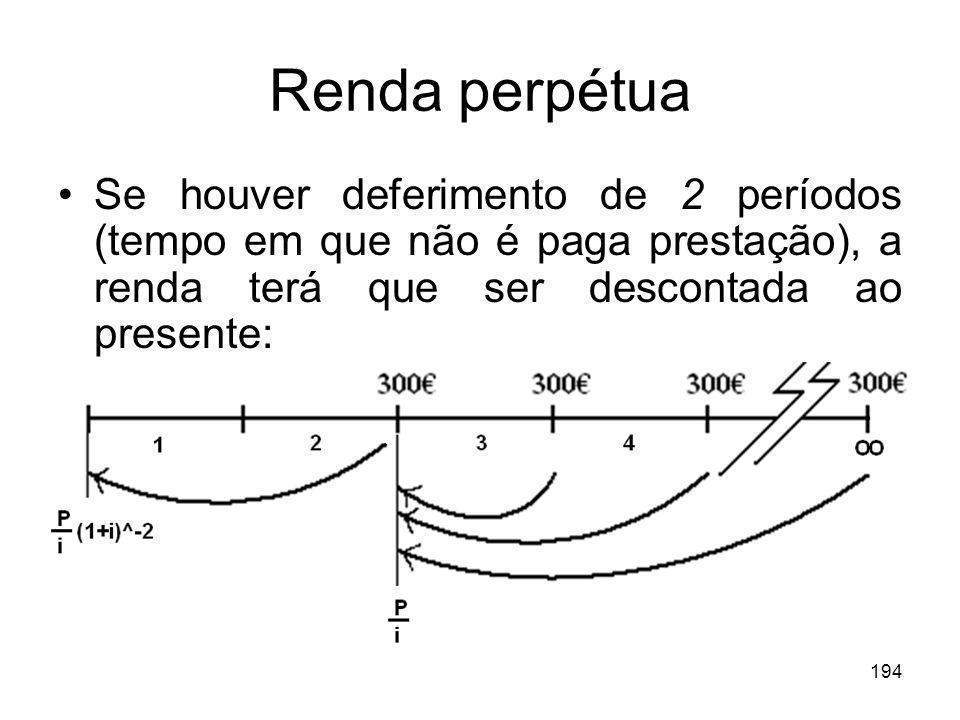 Renda perpétua Se houver deferimento de 2 períodos (tempo em que não é paga prestação), a renda terá que ser descontada ao presente: