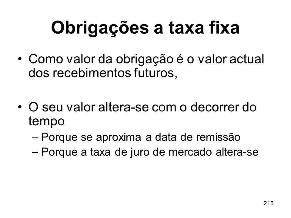 Obrigações a taxa fixa Como valor da obrigação é o valor actual dos recebimentos futuros, O seu valor altera-se com o decorrer do tempo.