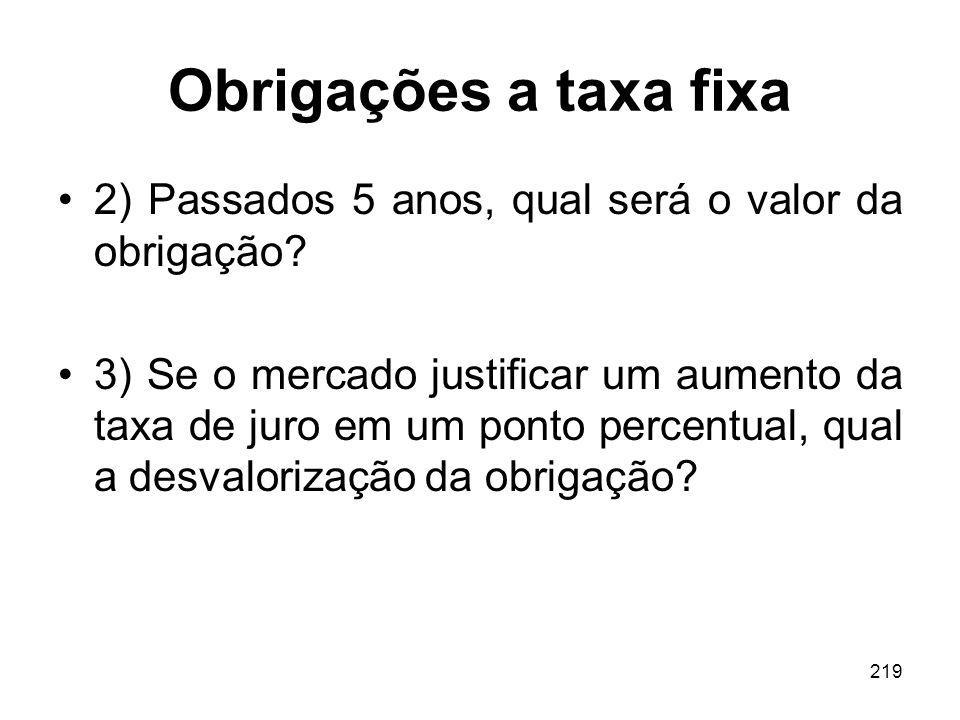 Obrigações a taxa fixa 2) Passados 5 anos, qual será o valor da obrigação