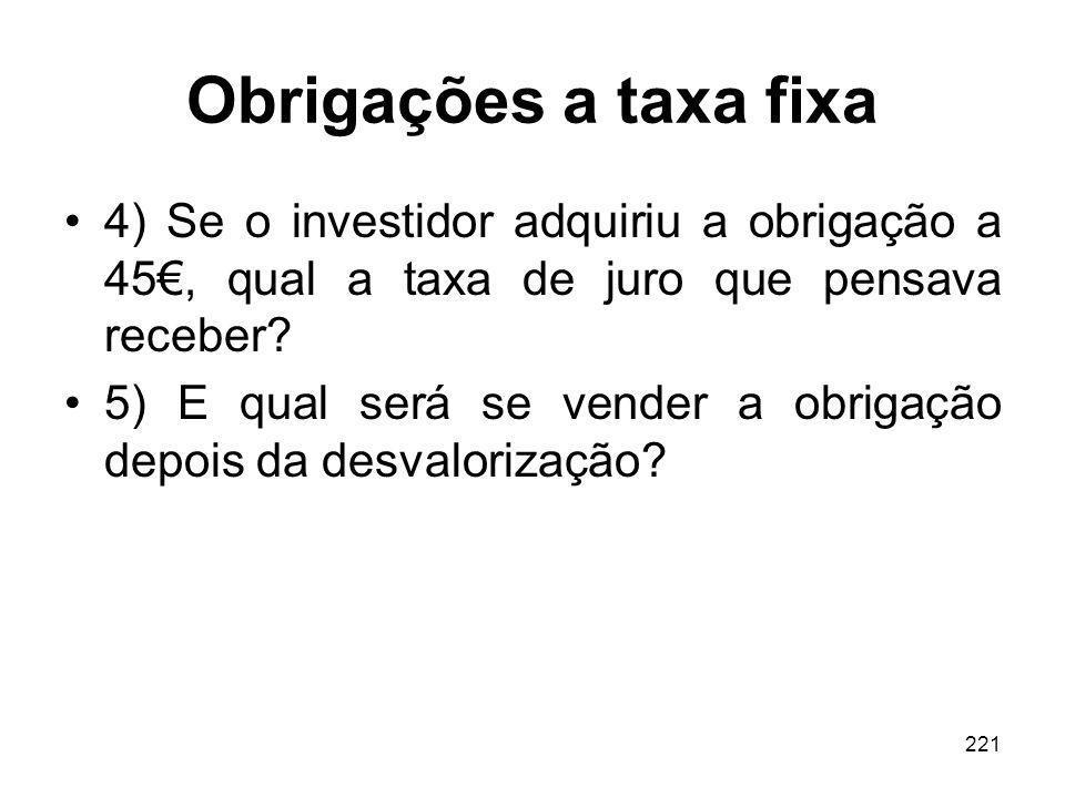 Obrigações a taxa fixa 4) Se o investidor adquiriu a obrigação a 45€, qual a taxa de juro que pensava receber