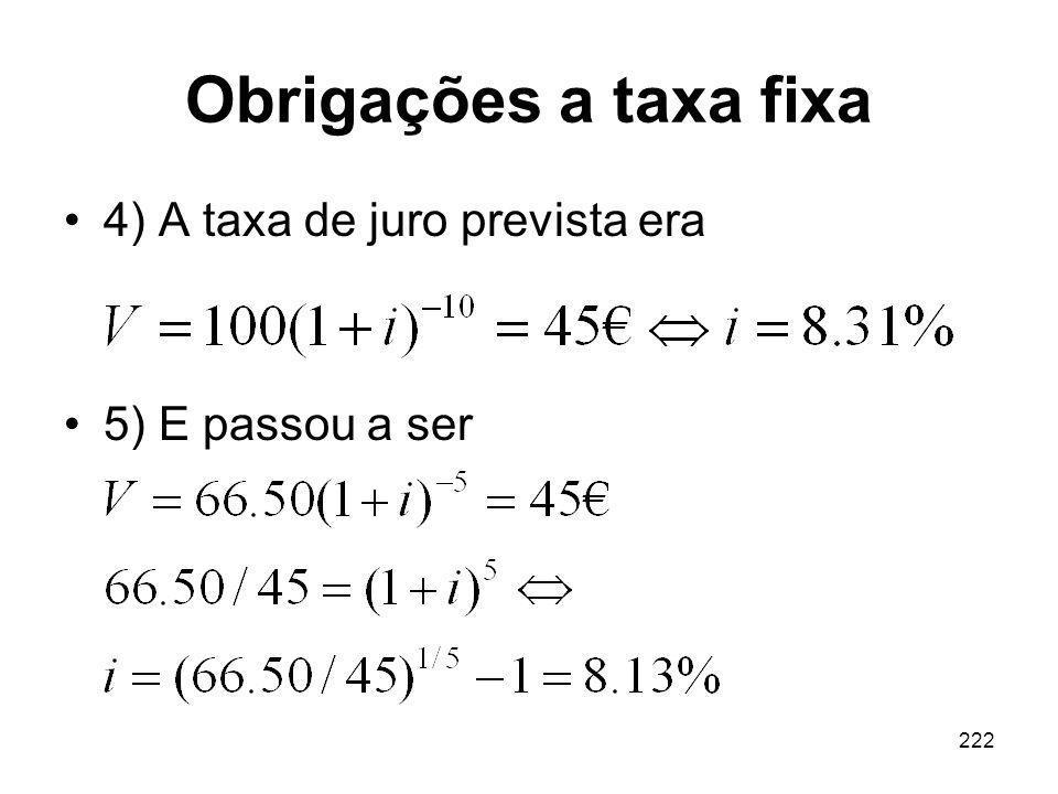 Obrigações a taxa fixa 4) A taxa de juro prevista era