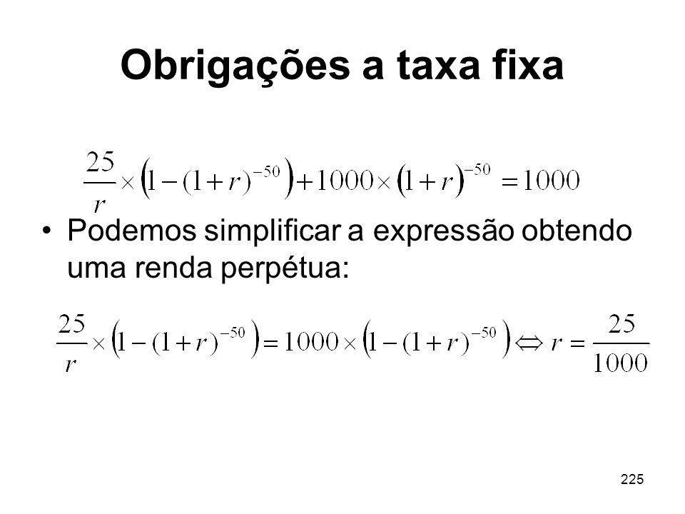 Obrigações a taxa fixa Podemos simplificar a expressão obtendo uma renda perpétua: 225