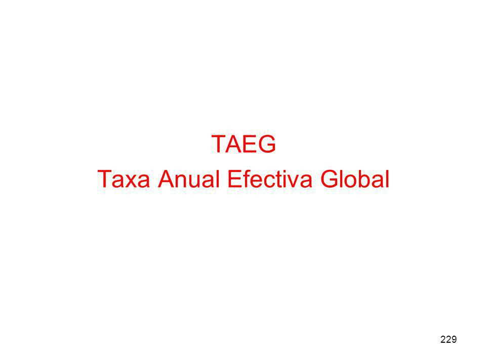 TAEG Taxa Anual Efectiva Global