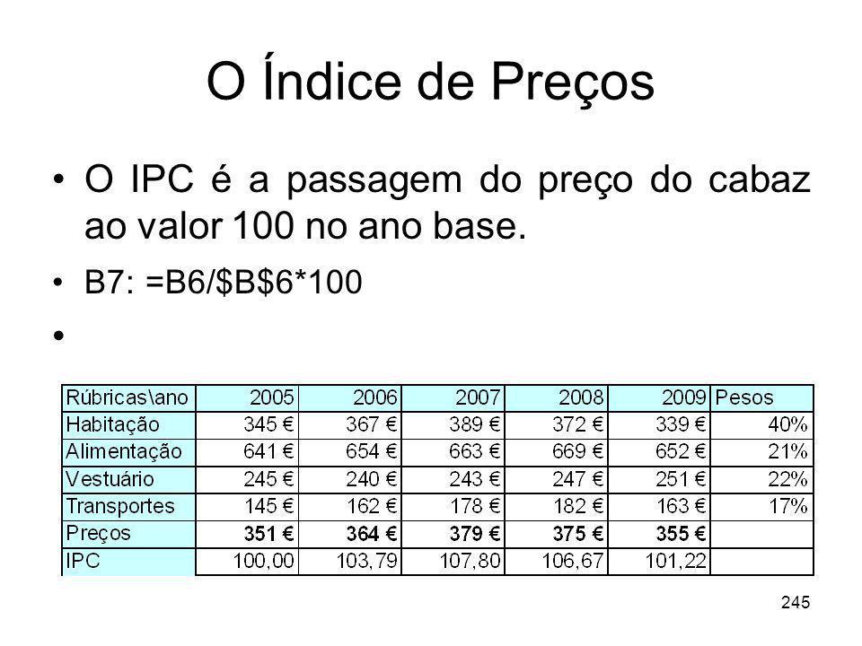 O Índice de Preços O IPC é a passagem do preço do cabaz ao valor 100 no ano base. B7: =B6/$B$6*100.