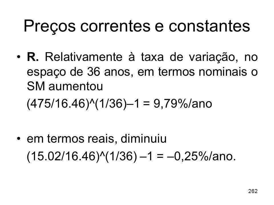 Preços correntes e constantes