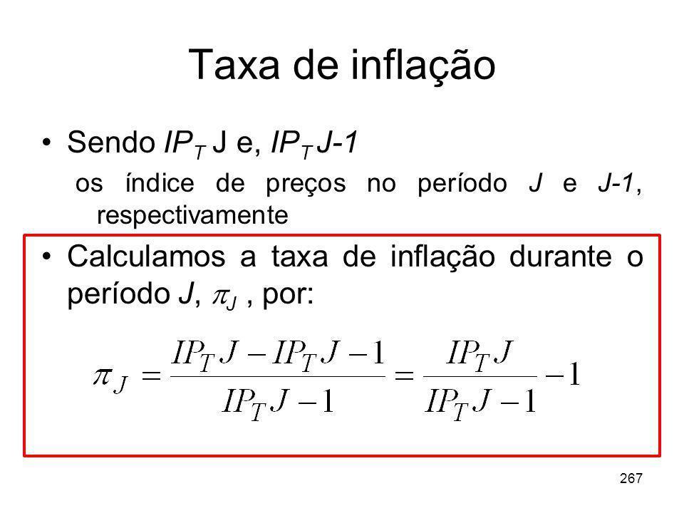 Taxa de inflação Sendo IPT J e, IPT J-1