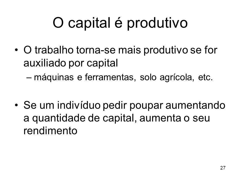O capital é produtivo O trabalho torna-se mais produtivo se for auxiliado por capital. máquinas e ferramentas, solo agrícola, etc.