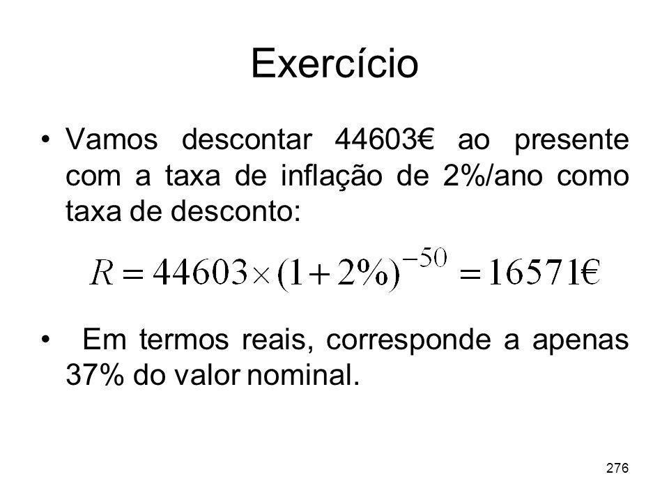 Exercício Vamos descontar 44603€ ao presente com a taxa de inflação de 2%/ano como taxa de desconto: