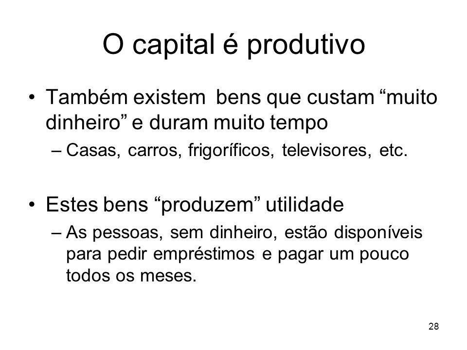 O capital é produtivo Também existem bens que custam muito dinheiro e duram muito tempo. Casas, carros, frigoríficos, televisores, etc.