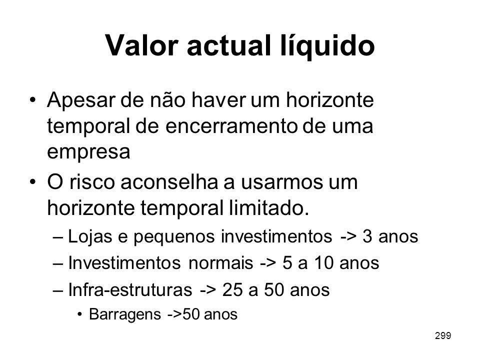 Valor actual líquido Apesar de não haver um horizonte temporal de encerramento de uma empresa.