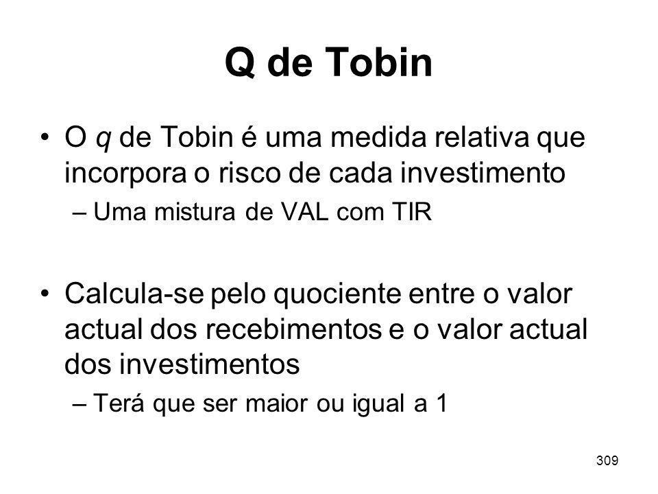 Q de Tobin O q de Tobin é uma medida relativa que incorpora o risco de cada investimento. Uma mistura de VAL com TIR.