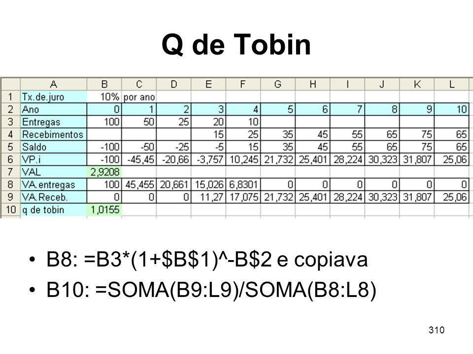 Q de Tobin B8: =B3*(1+$B$1)^-B$2 e copiava