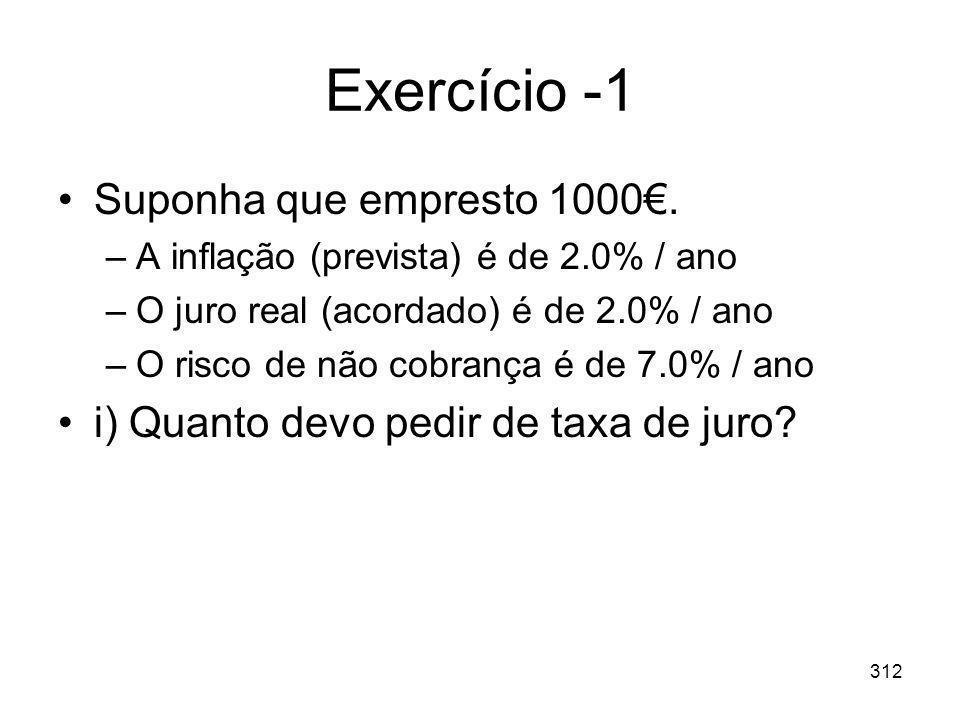 Exercício -1 Suponha que empresto 1000€.