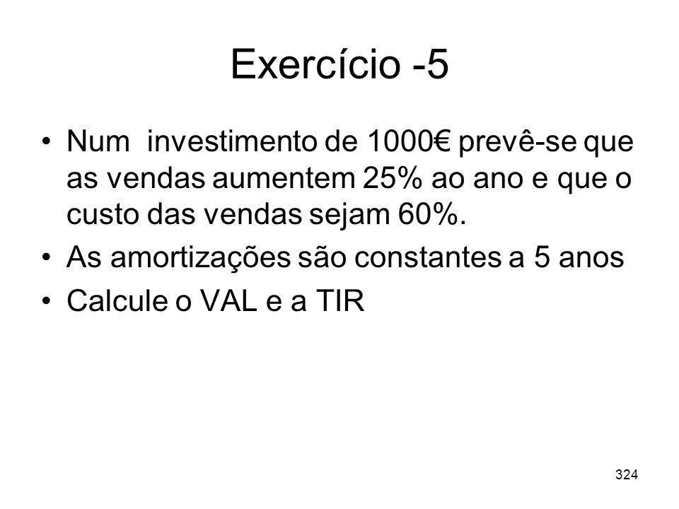 Exercício -5 Num investimento de 1000€ prevê-se que as vendas aumentem 25% ao ano e que o custo das vendas sejam 60%.
