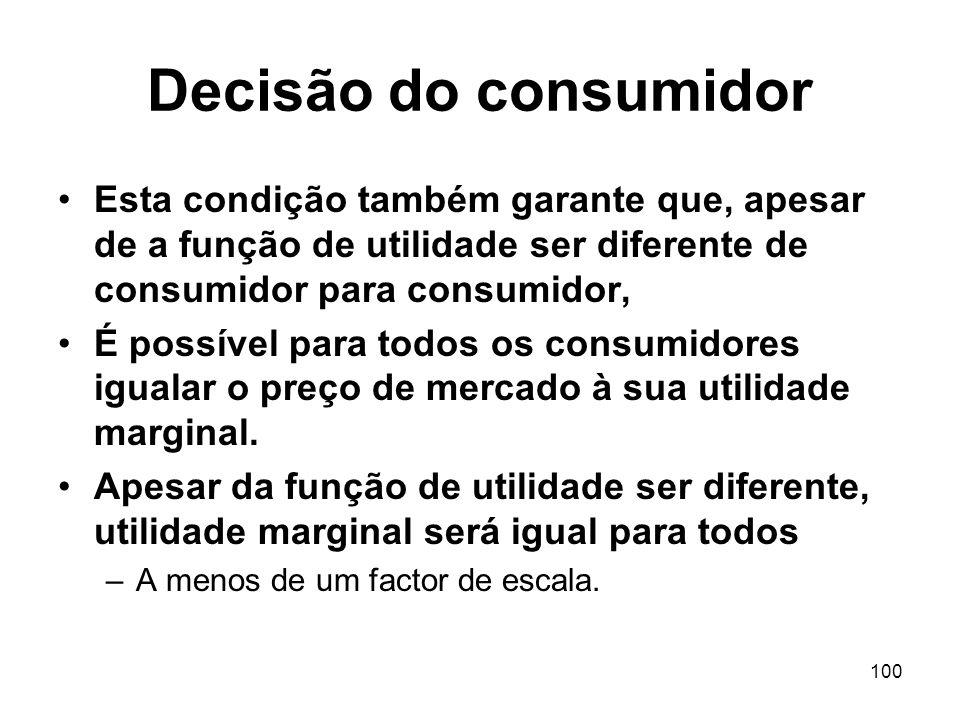 Decisão do consumidor Esta condição também garante que, apesar de a função de utilidade ser diferente de consumidor para consumidor,