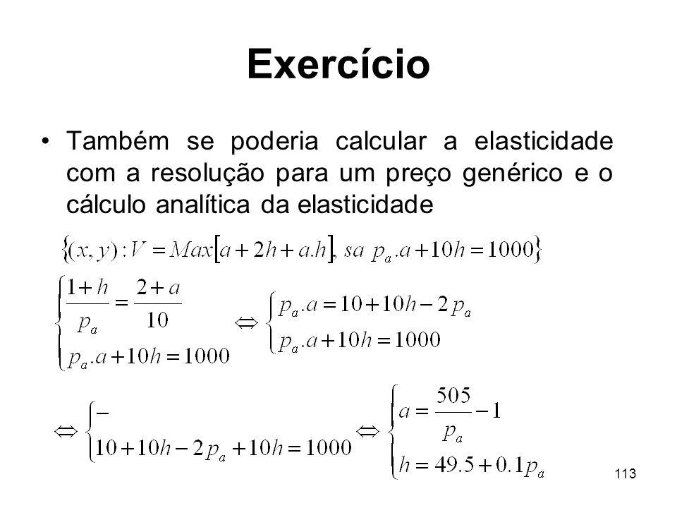 Exercício Também se poderia calcular a elasticidade com a resolução para um preço genérico e o cálculo analítica da elasticidade.