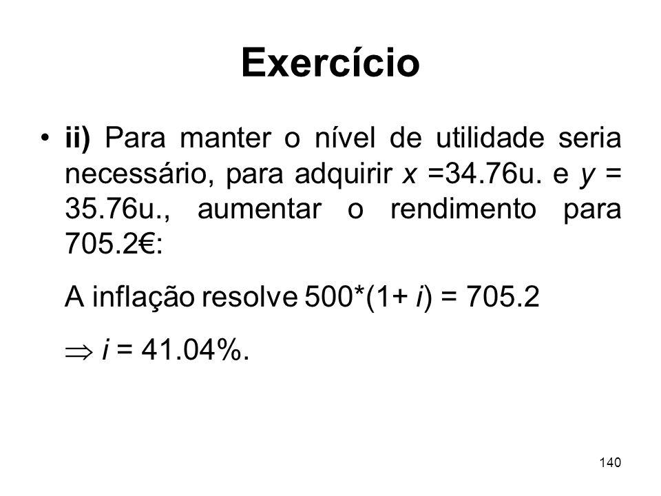 Exercício ii) Para manter o nível de utilidade seria necessário, para adquirir x =34.76u. e y = 35.76u., aumentar o rendimento para 705.2€: