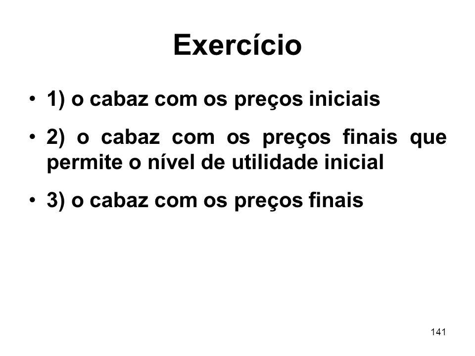Exercício 1) o cabaz com os preços iniciais