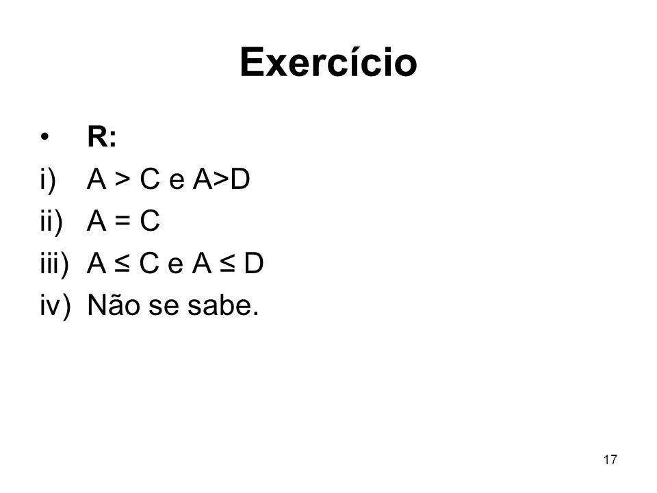 Exercício R: A > C e A>D A = C A ≤ C e A ≤ D Não se sabe.