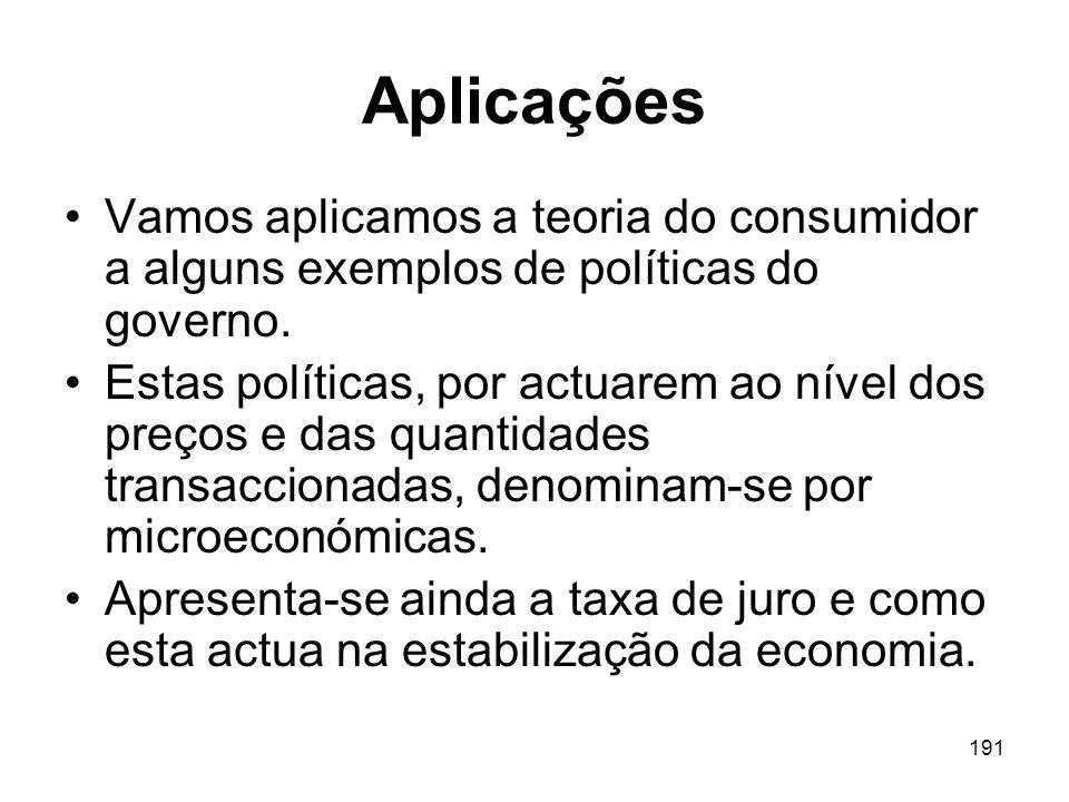 Aplicações Vamos aplicamos a teoria do consumidor a alguns exemplos de políticas do governo.