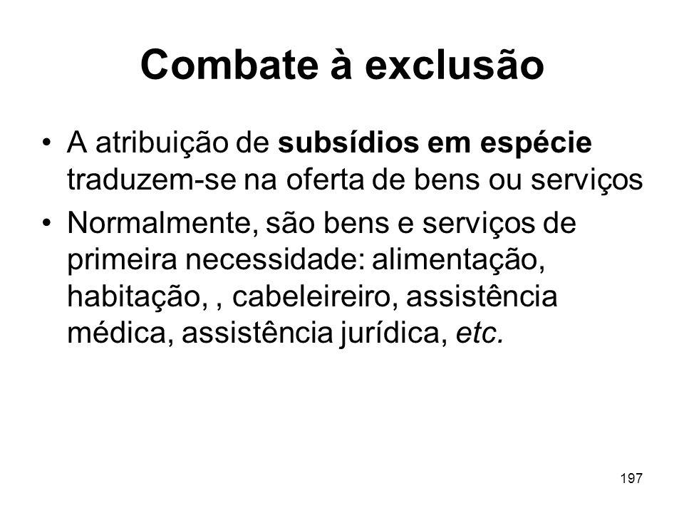 Combate à exclusão A atribuição de subsídios em espécie traduzem-se na oferta de bens ou serviços.