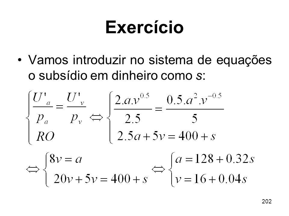 Exercício Vamos introduzir no sistema de equações o subsídio em dinheiro como s:
