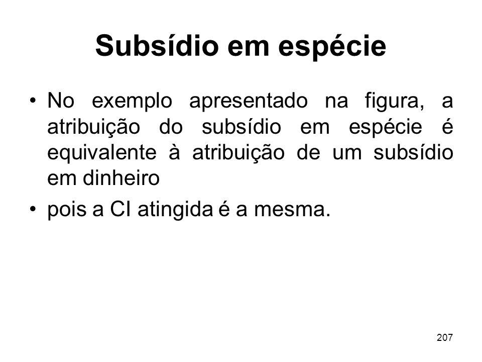 Subsídio em espécie No exemplo apresentado na figura, a atribuição do subsídio em espécie é equivalente à atribuição de um subsídio em dinheiro.