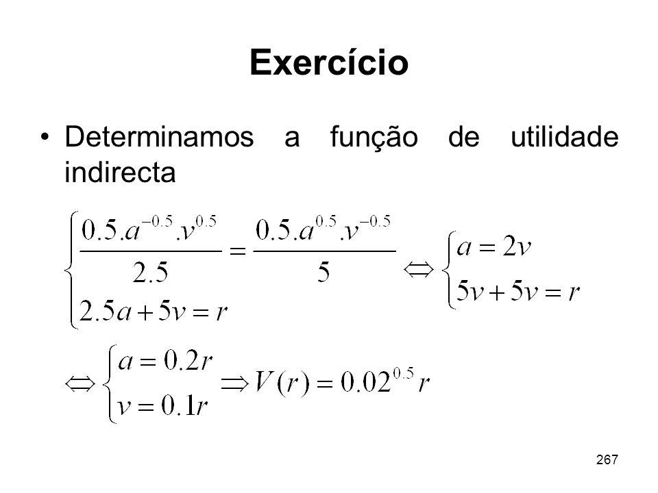 Exercício Determinamos a função de utilidade indirecta
