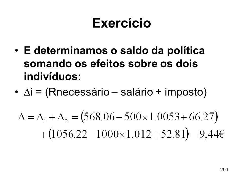 Exercício E determinamos o saldo da política somando os efeitos sobre os dois indivíduos: i = (Rnecessário – salário + imposto)