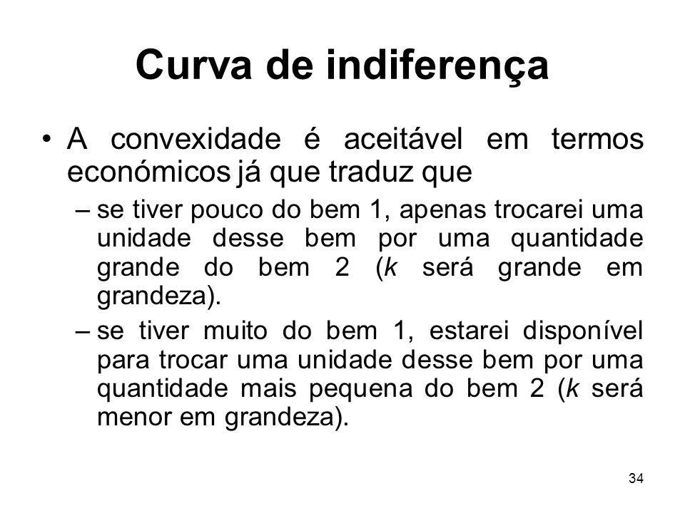 Curva de indiferença A convexidade é aceitável em termos económicos já que traduz que.