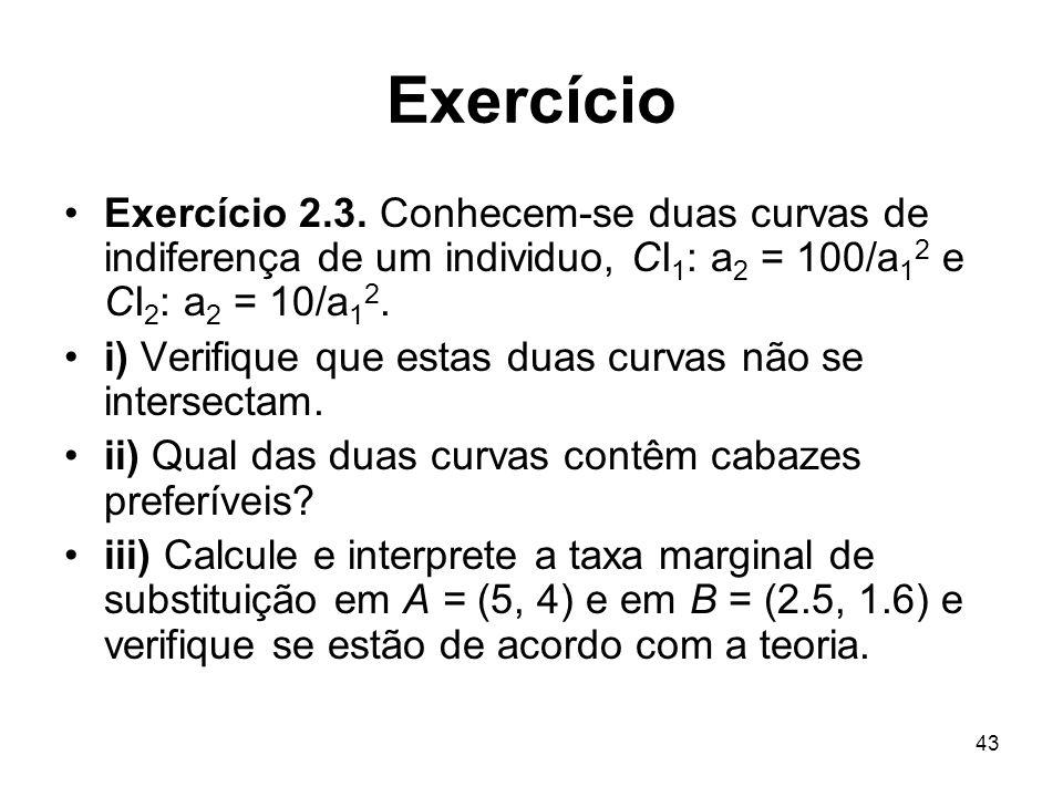 Exercício Exercício 2.3. Conhecem-se duas curvas de indiferença de um individuo, CI1: a2 = 100/a12 e CI2: a2 = 10/a12.