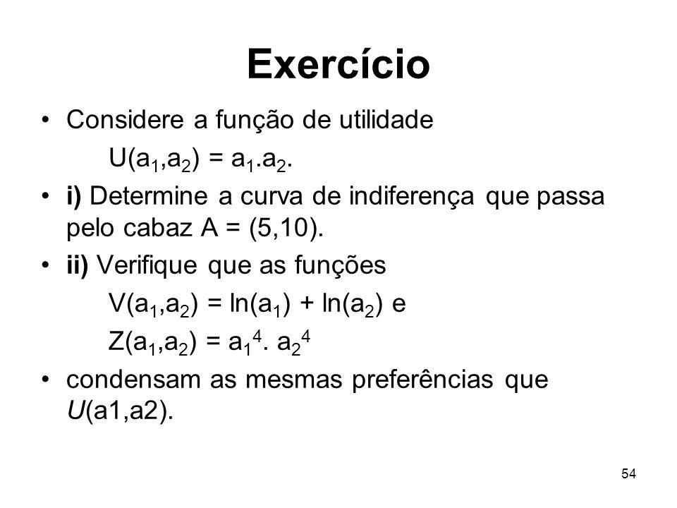 Exercício Considere a função de utilidade U(a1,a2) = a1.a2.