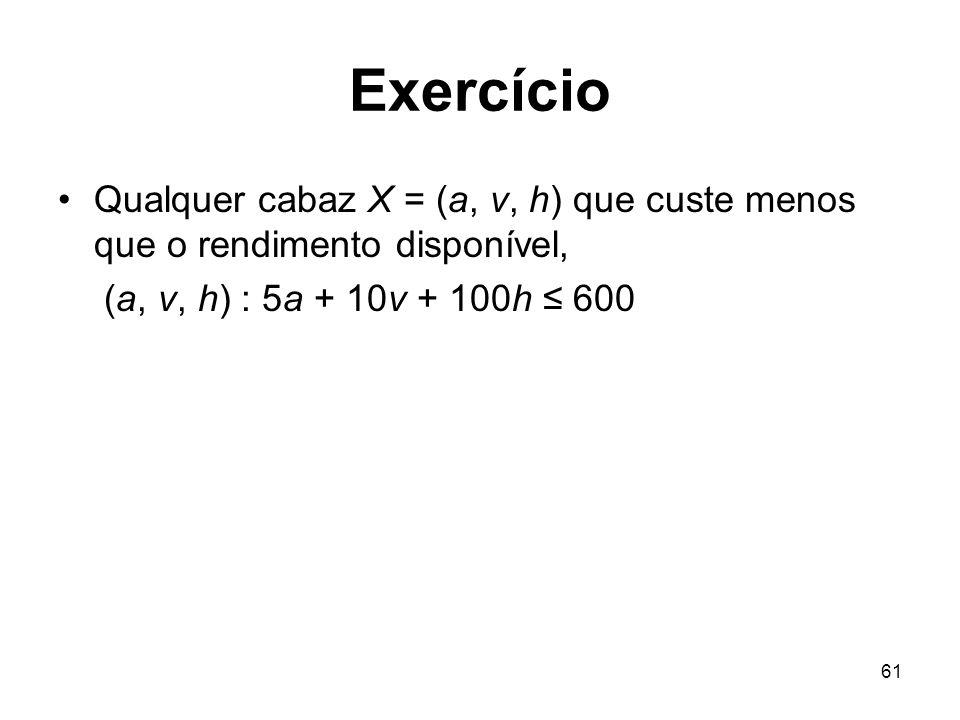 Exercício Qualquer cabaz X = (a, v, h) que custe menos que o rendimento disponível, (a, v, h) : 5a + 10v + 100h ≤ 600.