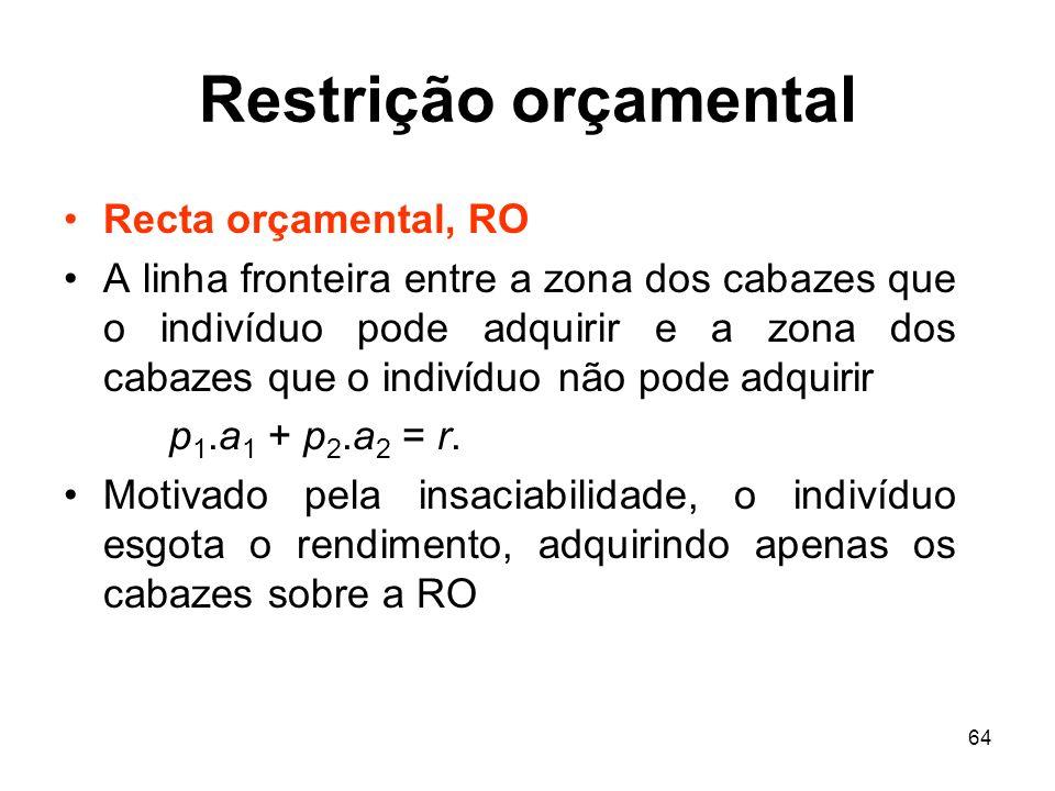 Restrição orçamental Recta orçamental, RO